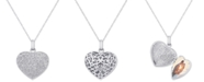 Victoria Townsend Diamond Pavé Heart Locket Pendant Necklace (2 ct. t.w.) in Sterling Silver