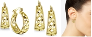 "Giani Bernini Small Floral Hoop Earrings, 0.75"", Created for Macy's"