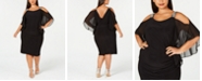XSCAPE Plus Size Rhinestone Cold-Shoulder Sheath Dress