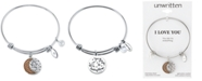 "Unwritten ""You Are My Everything"" Moon and Star Multi-Charm Bangle Bracelet in Stainless Steel and Rose Gold-Tone Stainless Steel Silver Plated Charms"
