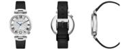 BCBGMAXAZRIA Ladies Round Black Genuine Leather Strap with T Bar Attachment Watch, 38mm