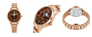 Stuhrling Alexander Watch AD204B-06, Ladies Quartz Moonphase Date Watch with Rose Gold Tone Stainless Steel Case on Rose Gold Tone Stainless Steel Bracelet
