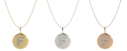 Macy's 14k Yellow, White, or Rose Gold Necklace, Diamond Letter F Disk Pendant (1/10 ct. t.w.)