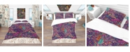 Design Art Designart 'Texture With Abstract Flowers' Bohemian and Eclectic Duvet Cover Set - Queen