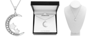 "Macy's Diamond (1/10 ct. t.w.) Moon & Stars 18"" Pendant Necklace in Sterling Silver"