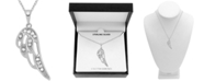 "Macy's Diamond (1/10 ct. t.w.) Angel Wing 18"" Pendant Necklace in Sterling Silver"