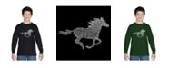 LA Pop Art Boy's Word Art Long Sleeve T-Shirt - Horse Breeds