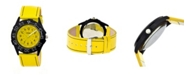 Crayo Unisex Fun Yellow Genuine Leather Strap Watch 40mm