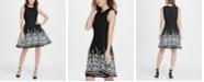 DKNY Border Mesh Fit  Flare Dress