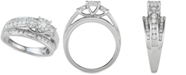 Macy's Diamond Two-Row Tri-Cluster Engagement Ring (1 ct. t.w.) in 14k White Gold
