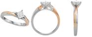 Macy's Diamond Princess Twist Engagement Ring (1/2 ct. t.w.) in 14k White & Rose Gold
