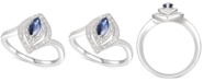 Macy's Sapphire (3/8 ct. t.w.) & Diamond (1/10 ct. t.w.) Statement Ring in Sterling Silver