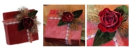 """Northlight 6.75"""" Nature's Luxury Dark Rose Gold Floral Accent Christmas Gift Box Decoration"""