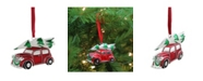 """Northlight 3.25"""" Red White and Green Silver Plated Car with Tree and Wreath Christmas Ornament"""