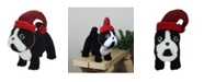 """Northlight 11.5"""" Black and White Plush Standing Bulldog with Red Hat Christmas Decoration"""