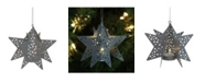 """Northlight 5"""" Pre-lit Gray Cut Out Metal Star Christmas Ornament"""