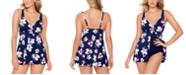 Swim Solutions Flyaway Tummy Control Swimdress, Created for Macy's