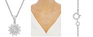 "Macy's Diamond Flower 18"" Pendant Necklace (1/4 ct. t.w.) in Sterling Silver"