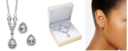 """Charter Club Silver-Tone Crystal Pendant Y-Necklace & Stud Earrings Boxed Set, 17"""" + 2"""" extender, Created for Macy's"""