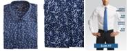 Nine West Men's Slim-Fit Wrinkle-Free Performance Stretch Navy & White Leaves Print Dress Shirt