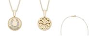 Macy's Diamond (1/20 ct. t.w.) Horseshoe Pendant in 14k Yellow or Rose Gold