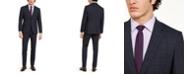 HUGO Men's Modern-Fit Stretch Dark Blue Plaid Suit Separates