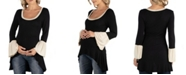24seven Comfort Apparel Swing High Low Bell Sleeve Maternity Tunic Top