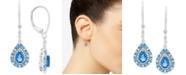 Macy's Blue Topaz (1-1/4 ct. t.w.) & White Topaz (1/8 ct. t.w.) Drop Earrings in Sterling Silver