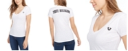 True Religion Women's Double Puff Rounded V Neck Tee