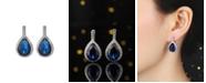 A&M Silver-Tone Sapphire Accent Tear Drop Earrings