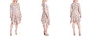 Jessica Simpson Trendy Plus Size Kaelin Printed Handkerchief-Hem Dress