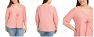 Belldini Plus Size Blouson-Sleeve Top