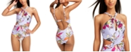 Bar III Printed High-Neck Cutout One-Piece Swimsuit, Created for Macy's