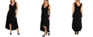 24seven Comfort Apparel Sleeveless Fit N Flare High Low Plus Size Dress