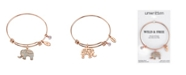 """Unwritten """"All Good Things are Wild and Free"""" Elephant Charm Adjustable Bangle Bracelet in Rose Gold-Tone & Stainless Steel with Silver Plated Charms"""