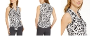 Bar III Tie-Neck Printed Top, Created for Macy's