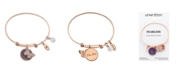 "Unwritten "" Fearless"" Cubic Zirconia and Genuine Amythest Adjustable Bangle Bracelet in Stainless Steel with Silver Plated Charms"