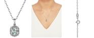 "Macy's Aquamarine (5/8 ct. t.w.) & Diamond (1/10 ct. t.w.) 18"" Pendant Necklace in 14k White Gold"