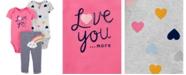 Carter's Baby Girls 3-Pc. Love You Hearts & Rainbow Cotton Bodysuits & Pants Set