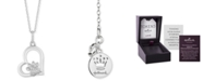 "Hallmark Diamonds Paw Heart Love pendant (1/10 ct. t.w.) in Sterling Silver, 16"" + 2"" extender"