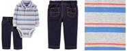 Carter's Baby Boys 2-Pc. Cotton Striped Polo Bodysuit & Denim-Look Pants Set