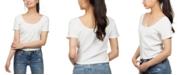 Hippie Rose Juniors' Button-Front Crop Top