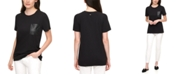 DKNY Jeans Faux-Leather-Pocket T-Shirt