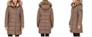 Vince Camuto Faux-Fur-Trim Hooded Asymmetrical Puffer Coat, Created for Macy's