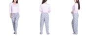 Muk Luks Solid Long-Sleeve T-Shirt & Printed Pants Pajama Set