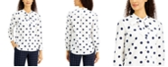 Charter Club Petite Dot-Print Button-Front Cotton Top, Created for Macy's