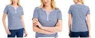 Karen Scott Short Sleeve Kitty Love Henley Top, Created for Macy's