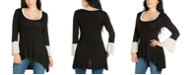 24seven Comfort Apparel Women's Bell Sleeve High Low Tunic Top