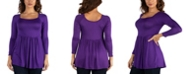 24seven Comfort Apparel Women's Wide Neck Pleated Long Sleeve Tunic Top