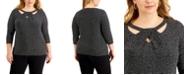Kasper Plus Size Printed Twist-Neck Top